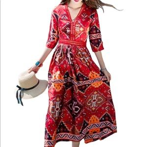 Simply Couture NWT red oriental lined dress size L